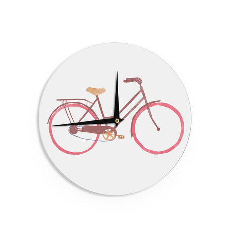 "Alik Arzoumanian ""Bike"" White Pink Wall Clock - KESS InHouse"