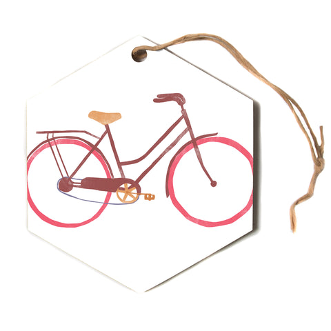 "Alik Arzoumanian ""Bike"" White Pink Hexagon Holiday Ornament"