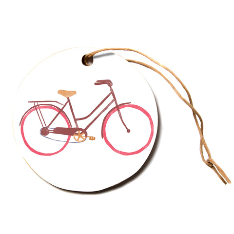 "Alik Arzoumanian ""Bike"" White Pink Circle Holiday Ornament"