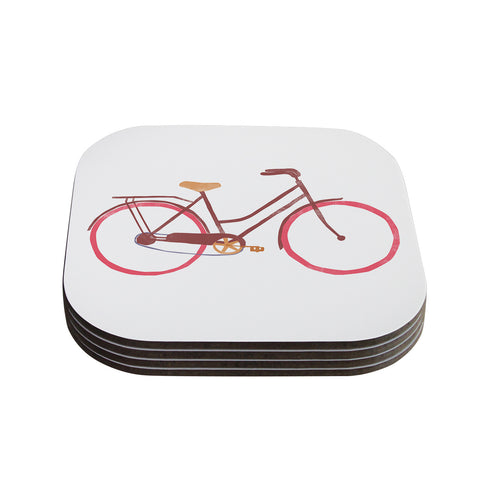"Alik Arzoumanian ""Bike"" White Pink Coasters (Set of 4)"