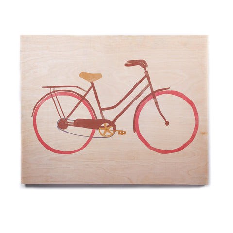 "Alik Arzoumanian ""Bike"" White Pink Birchwood Wall Art - KESS InHouse  - 1"