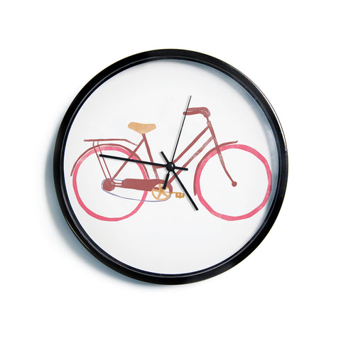 "Alik Arzoumanian ""Bike"" White Pink Modern Wall Clock"