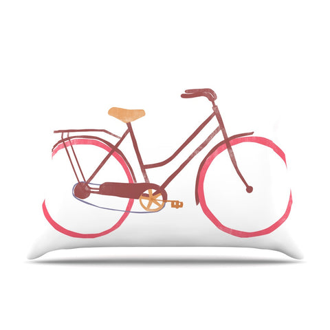 "Alik Arzoumanian ""Bike"" White Pink Pillow Sham - KESS InHouse  - 1"