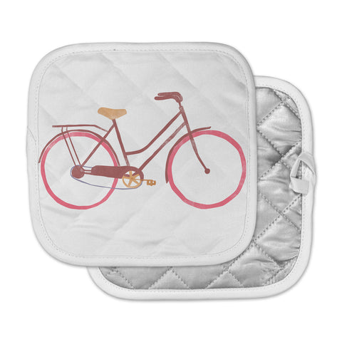 "Alik Arzoumanian ""Bike"" White Pink Pot Holder"