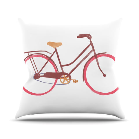 "Alik Arzoumanian ""Bike"" White Pink Outdoor Throw Pillow - KESS InHouse  - 1"