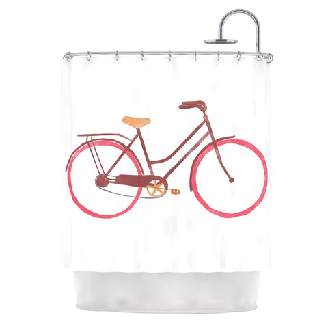 "Alik Arzoumanian ""Bike"" White Pink Shower Curtain - KESS InHouse"