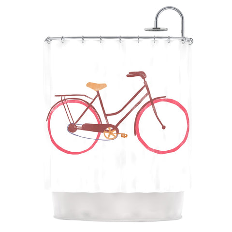 "Alik Arzoumanian ""Bike"" White Pink Shower Curtain - Outlet Item"