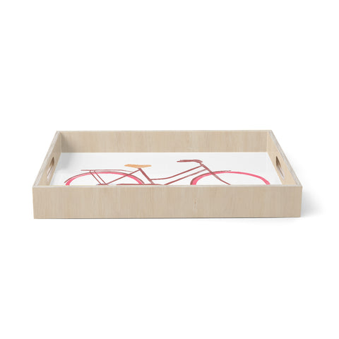"Alik Arzoumanian ""Bike"" White Pink Birchwood Tray"