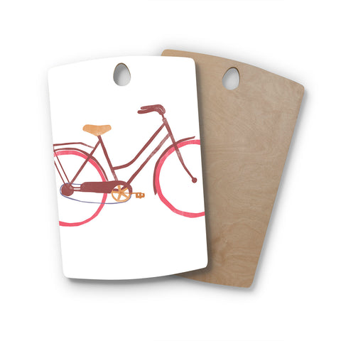 "Alik Arzoumanian ""Bike"" White Pink Rectangle Wooden Cutting Board"