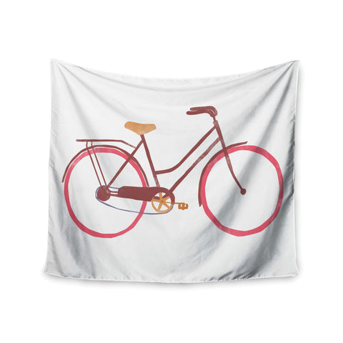 "Alik Arzoumanian ""Bike"" White Pink Wall Tapestry - KESS InHouse  - 1"