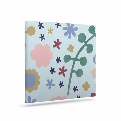 "Alik Arzoumanian ""Morning Flowers"" Pink Blue Canvas Art - KESS InHouse  - 1"