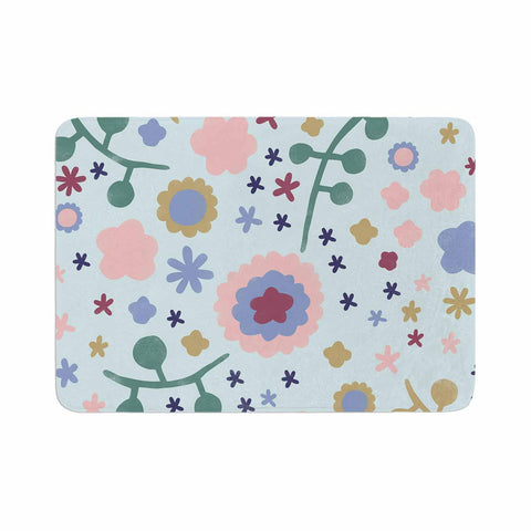 "Alik Arzoumanian ""Morning Flowers"" Pink Blue Memory Foam Bath Mat - KESS InHouse"