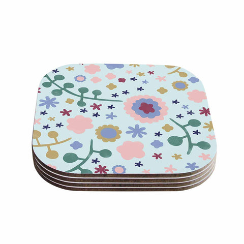 "Alik Arzoumanian ""Morning Flowers"" Pink Blue Coasters (Set of 4)"