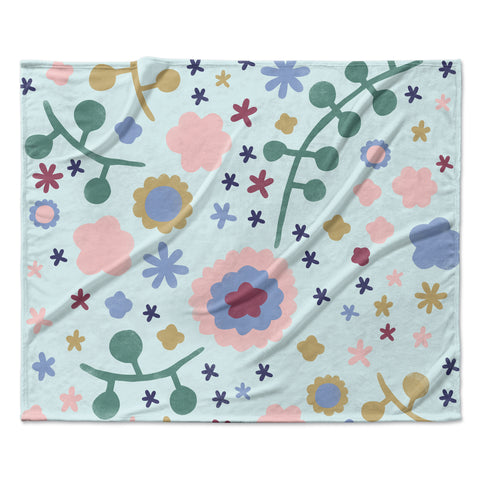 "Alik Arzoumanian ""Morning Flowers"" Pink Blue Fleece Throw Blanket"