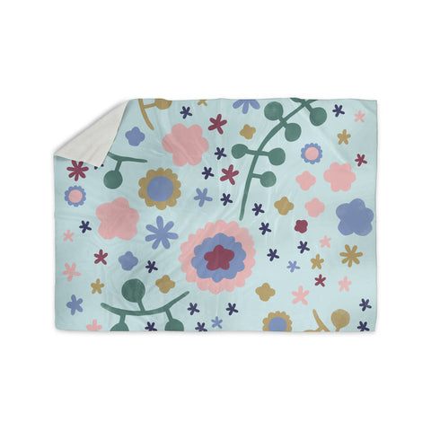 "Alik Arzoumanian ""Morning Flowers"" Pink Blue Sherpa Blanket - KESS InHouse  - 1"