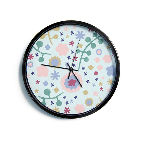 "Alik Arzoumanian ""Morning Flowers"" Pink Blue Modern Wall Clock"