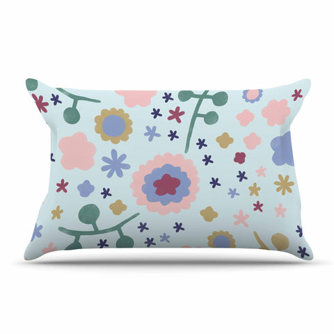 "Alik Arzoumanian ""Morning Flowers"" Pink Blue Pillow Sham - KESS InHouse  - 1"