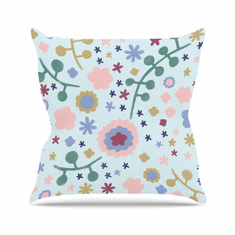 "Alik Arzoumanian ""Morning Flowers"" Pink Blue Outdoor Throw Pillow - KESS InHouse  - 1"