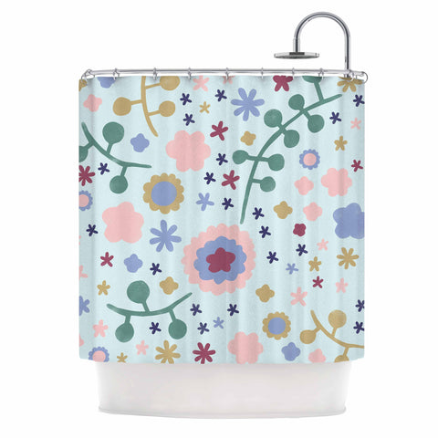 "Alik Arzoumanian ""Morning Flowers"" Pink Blue Shower Curtain - KESS InHouse"