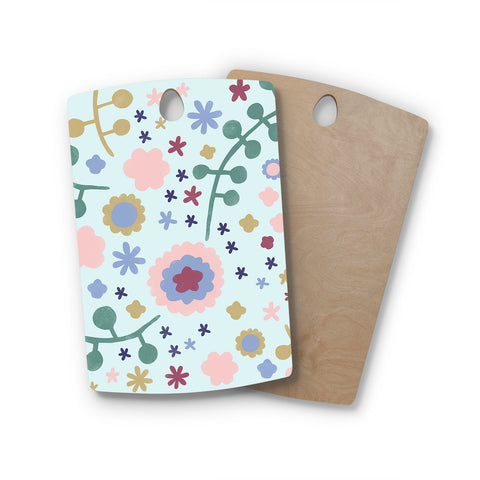 "Alik Arzoumanian ""Morning Flowers"" Pink Blue Rectangle Wooden Cutting Board"