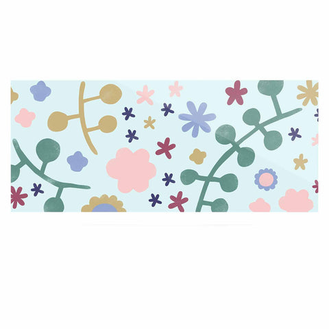 "Alik Arzoumanian ""Morning Flowers"" Pink Blue Luxe Rectangle Panel - KESS InHouse  - 1"