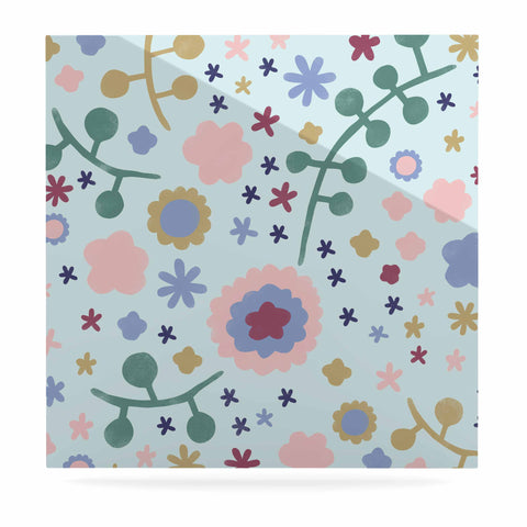 "Alik Arzoumanian ""Morning Flowers"" Pink Blue Luxe Square Panel - KESS InHouse  - 1"