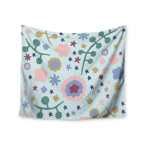 "Alik Arzoumanian ""Morning Flowers"" Pink Blue Wall Tapestry - KESS InHouse  - 1"