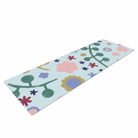 "Alik Arzoumanian ""Morning Flowers"" Pink Blue Yoga Mat - KESS InHouse  - 1"