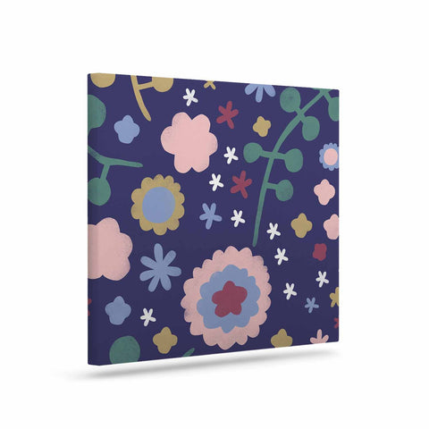 "Alik Arzoumanian ""Night Floral"" Blue Nature Canvas Art - KESS InHouse  - 1"