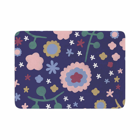 "Alik Arzoumanian ""Night Floral"" Blue Nature Memory Foam Bath Mat - KESS InHouse"
