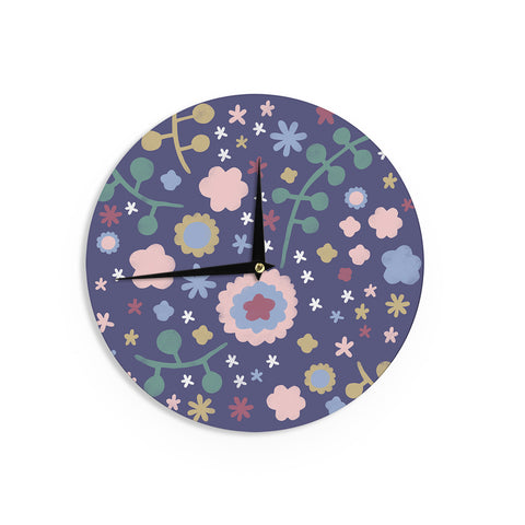 "Alik Arzoumanian ""Night Floral"" Blue Nature Wall Clock - KESS InHouse"