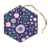 "Alik Arzoumanian ""Night Floral"" Blue Nature Hexagon Holiday Ornament"