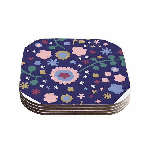 "Alik Arzoumanian ""Night Floral"" Blue Nature Coasters (Set of 4)"