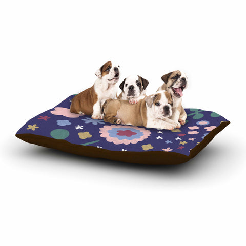 "Alik Arzoumanian ""Night Floral"" Blue Nature Dog Bed - KESS InHouse  - 1"