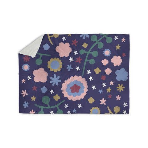"Alik Arzoumanian ""Night Floral"" Blue Nature Sherpa Blanket - KESS InHouse  - 1"