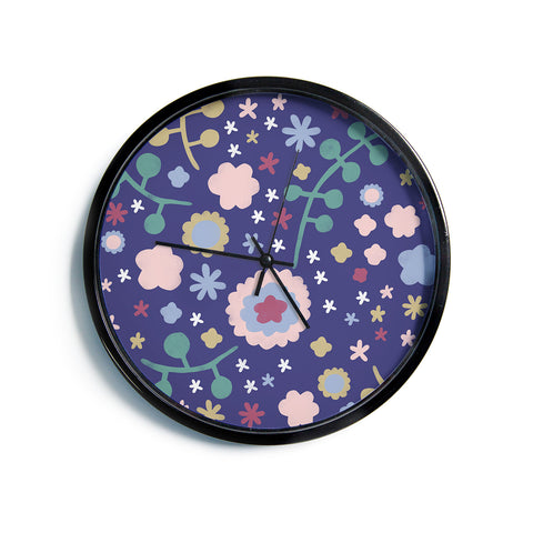 "Alik Arzoumanian ""Night Floral"" Blue Nature Modern Wall Clock"