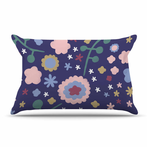 "Alik Arzoumanian ""Night Floral"" Blue Nature Pillow Sham - KESS InHouse  - 1"