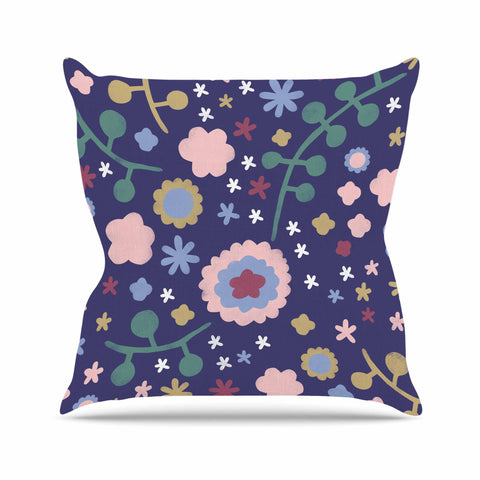 "Alik Arzoumanian ""Night Floral"" Blue Nature Outdoor Throw Pillow - KESS InHouse  - 1"