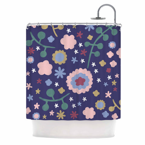 "Alik Arzoumanian ""Night Floral"" Blue Nature Shower Curtain - KESS InHouse"