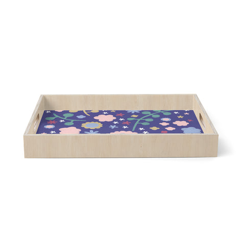 "Alik Arzoumanian ""Night Floral"" Blue Nature Birchwood Tray"