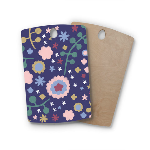 "Alik Arzoumanian ""Night Floral"" Blue Nature Rectangle Wooden Cutting Board"