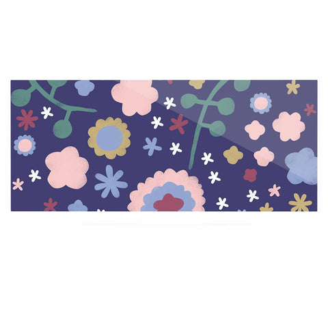 "Alik Arzoumanian ""Night Floral"" Blue Nature Luxe Rectangle Panel - KESS InHouse  - 1"