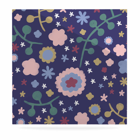 "Alik Arzoumanian ""Night Floral"" Blue Nature Luxe Square Panel - KESS InHouse  - 1"