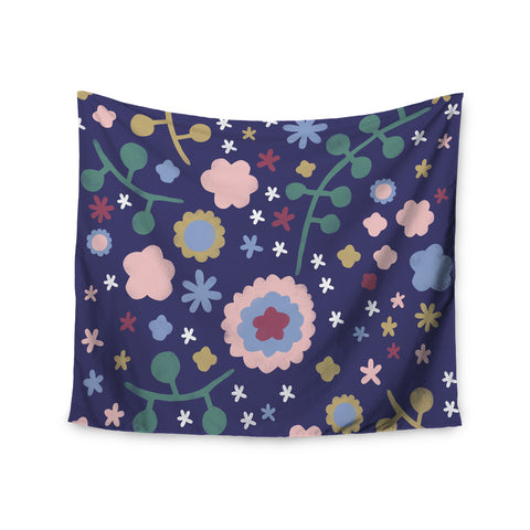 "Alik Arzoumanian ""Night Floral"" Blue Nature Wall Tapestry - KESS InHouse  - 1"