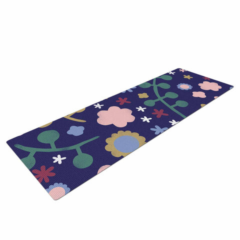 "Alik Arzoumanian ""Night Floral"" Blue Nature Yoga Mat - KESS InHouse  - 1"