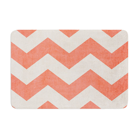 "Ann Barnes ""Vintage Coral"" Orange Chevron Memory Foam Bath Mat - Outlet Item"