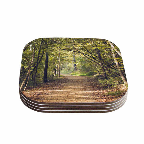 "Ann Barnes ""Forest Light"" Nature Photography Trees Green Coasters (Set of 4) - Outlet Item"