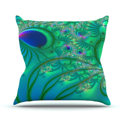 "Alison Coxon ""Fractal Turquoise"" Outdoor Throw Pillow - KESS InHouse  - 1"