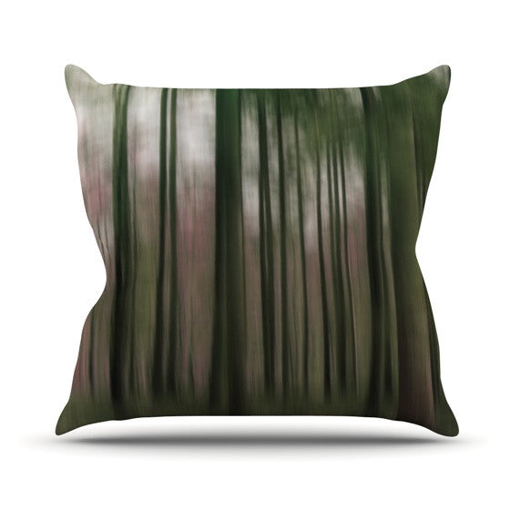 "Alison Coxon ""Forest Blur"" Outdoor Throw Pillow - KESS InHouse  - 1"