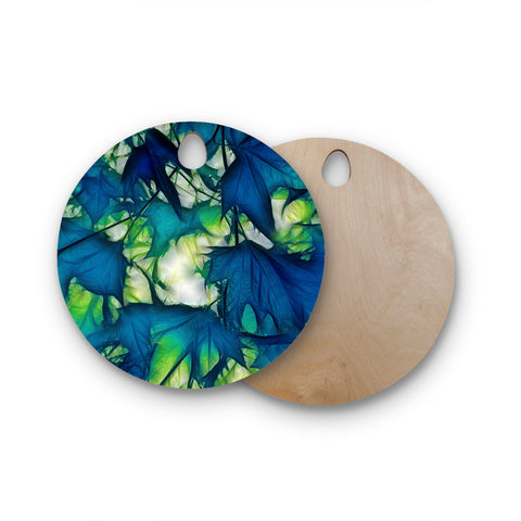 "Alison Coxon ""Leaves"" Round Wooden Cutting Board"